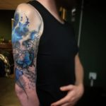 Blue Elements Skull Tattoo Sleeve