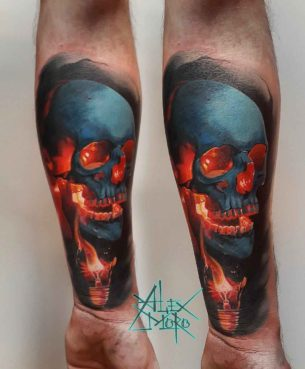 Bulb Skull Tattoo on Arm