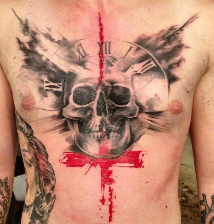 skull tattoo on chest trash polka style