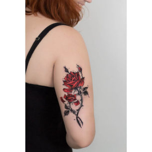Colored Roses Tattoo