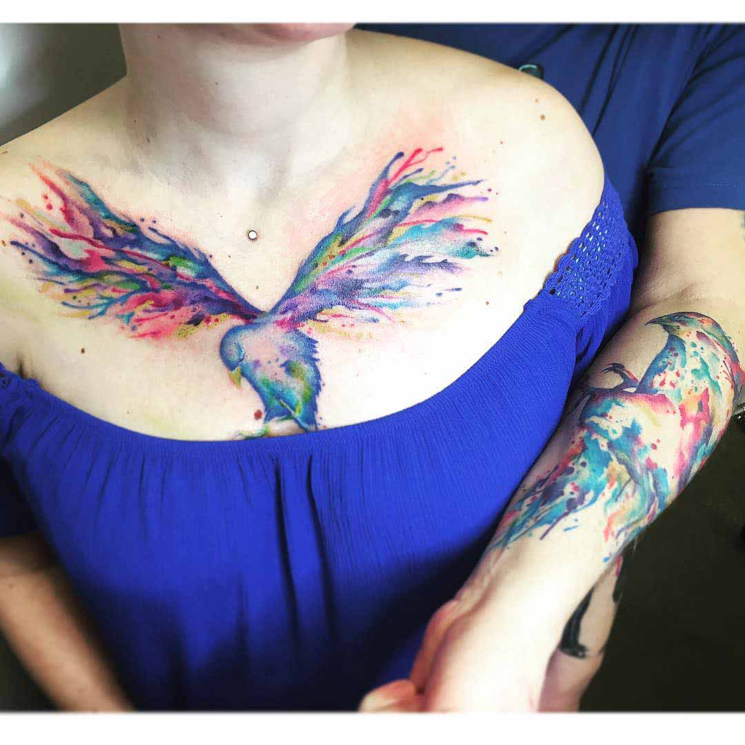 firebird watercolor couple tattoo