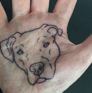 Dog Tattoo on Palm
