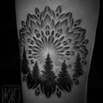 mandala tattoo with pine forest