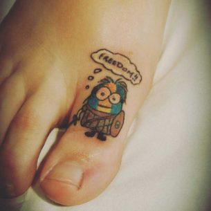 Freedom Minion Tattoo on Toe