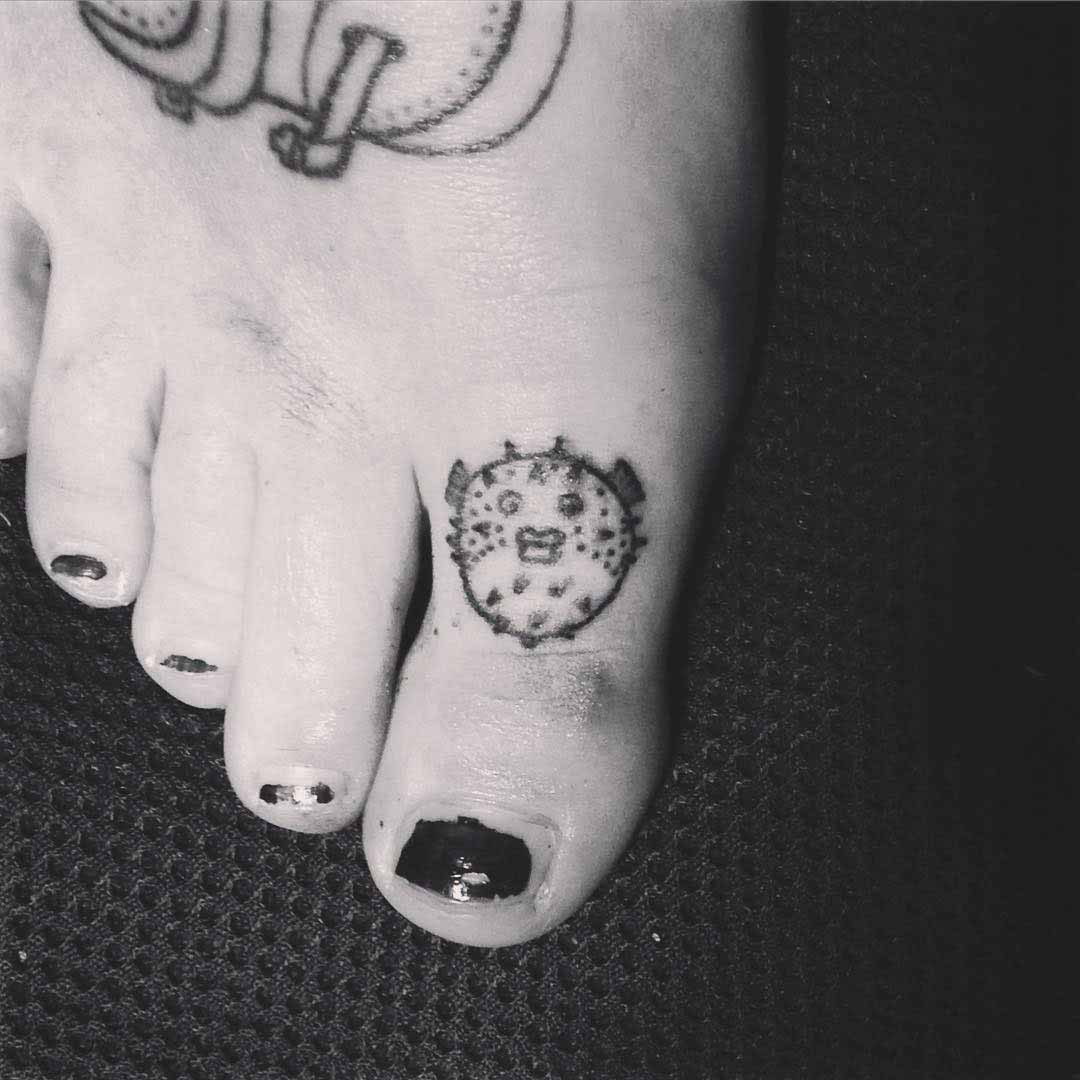 Fugu Fish Toe Tattoo by Indra Liebetanz