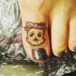 Girl Skull Tattoo on Toe