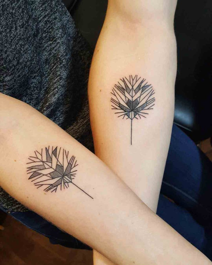 Geometrical leaf tattoos for couple best tattoo ideas for Best couples tattoos