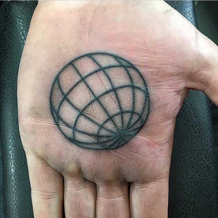 Line Ball Tattoo on Palm by Gary Burns