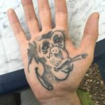 Monkey Dotwork Tattoo on Palm