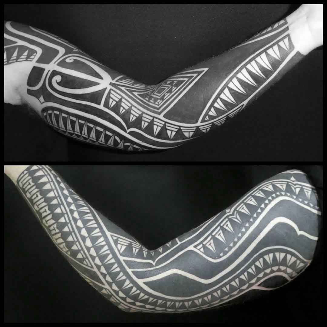 polynesian sleeve tattoo pacific inspired