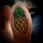 Pineapple Tattoo On Toe Bottom