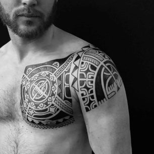 Polynesian Chest Tattoo to Shoulder
