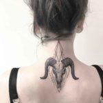Ram Skull Tattoo on Back of Neck