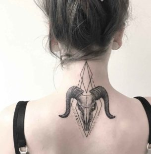 Ram Skull Tattoo on Back of Neck