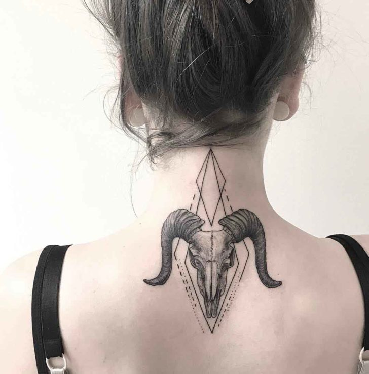 ram skull tattoo on neck nape