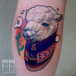 Sheep Tattoo on Calf