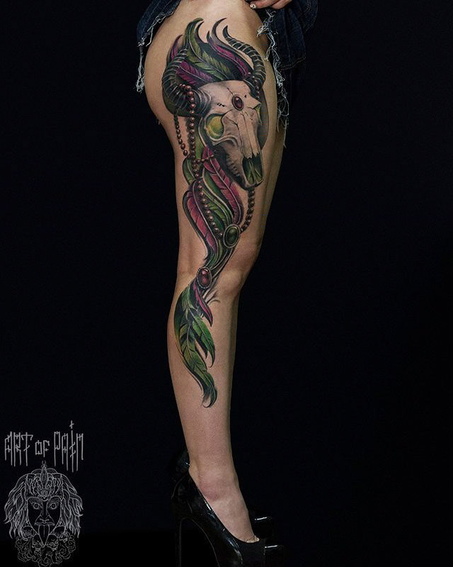 bull skull tattoo on full leg side
