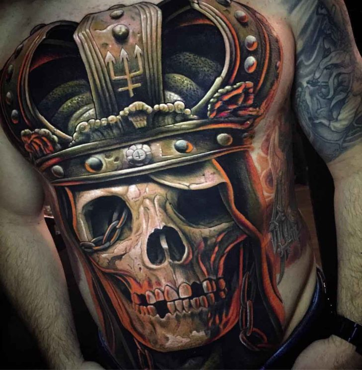 realistic royal skull tattoo with crown