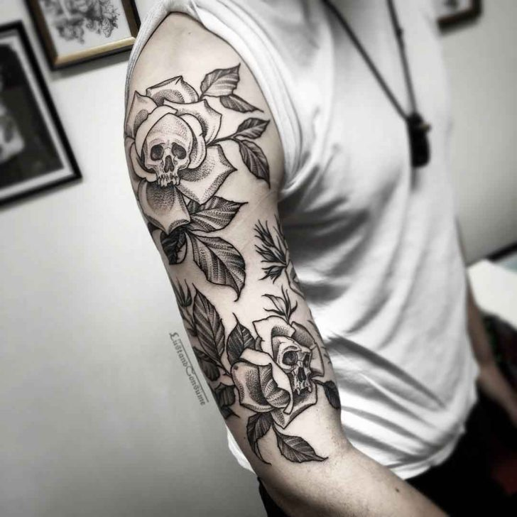 tattoo sleeve skulls in flowers