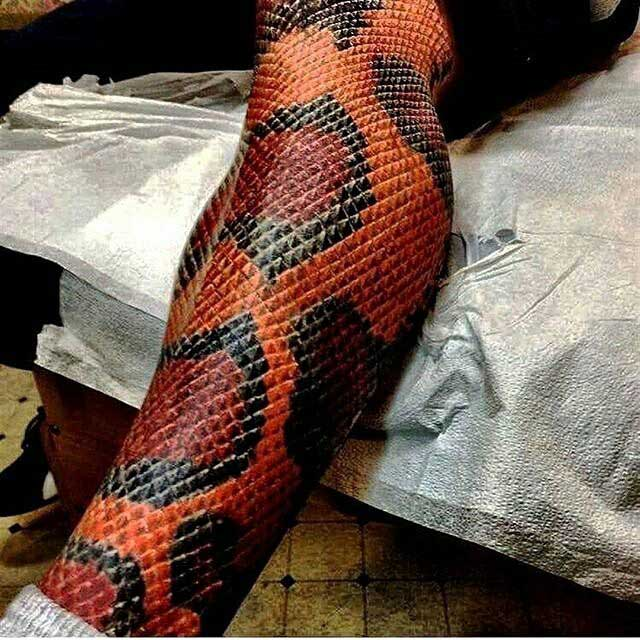 Snake Skin Tattoo on Leg | Best Tattoo Ideas Gallery