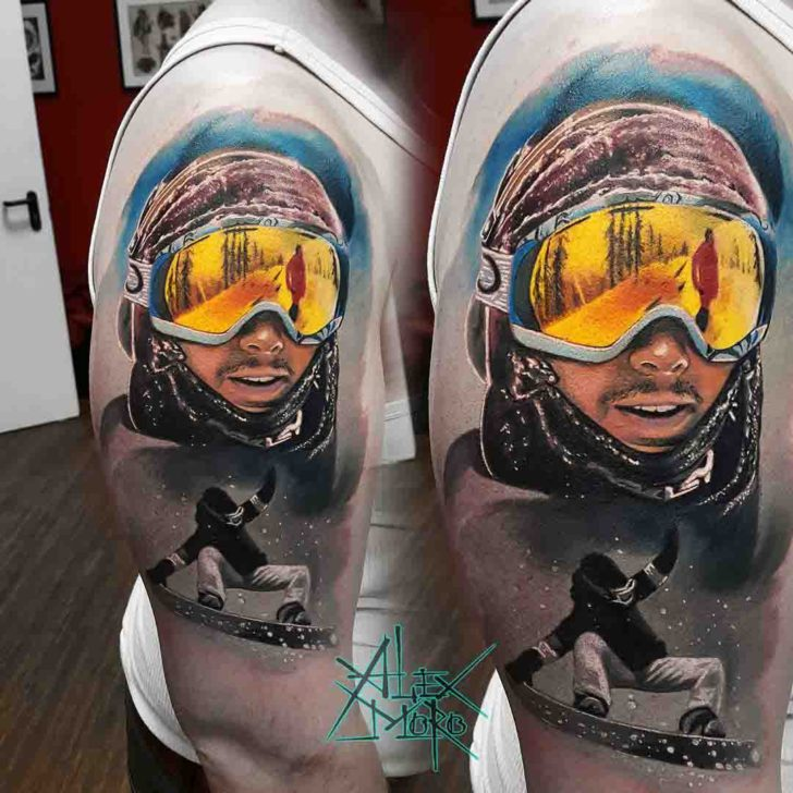 realistic shoulder tattoo snowbord extreme