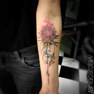 Watercolor Thistle Tattoo on Arm