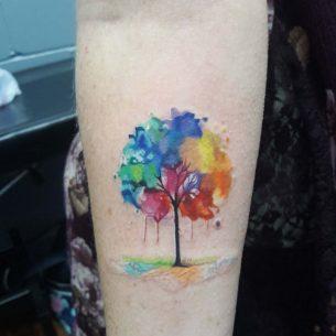 Watercolor Tree Tattoo on Arm