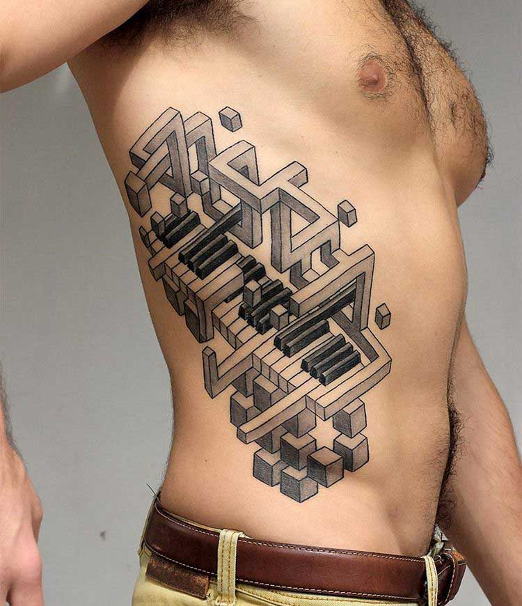 side 3D tattoo piano keyboard