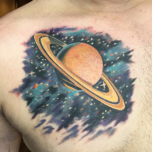 Big Saturn Tattoo on Chest by ryanwhitsontattoo