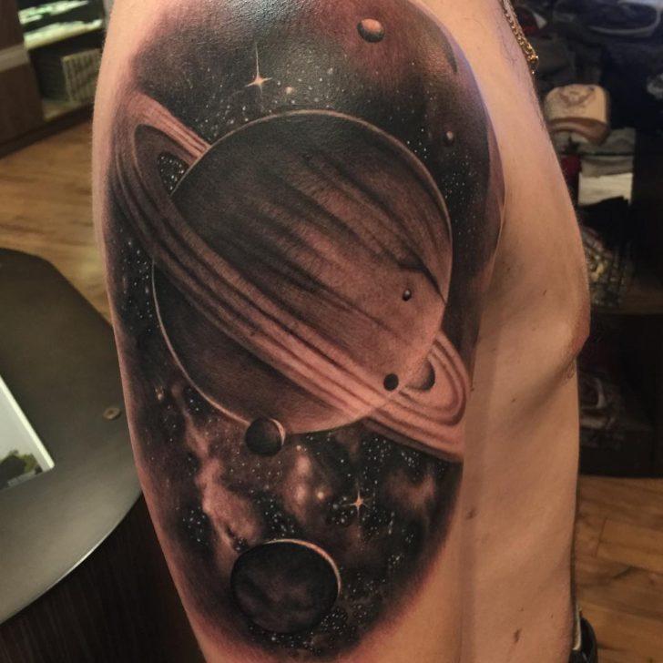 Big Saturn Tattoo on Shoulder by darinpriest