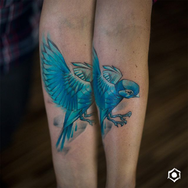 blue sparrow tattoo new school