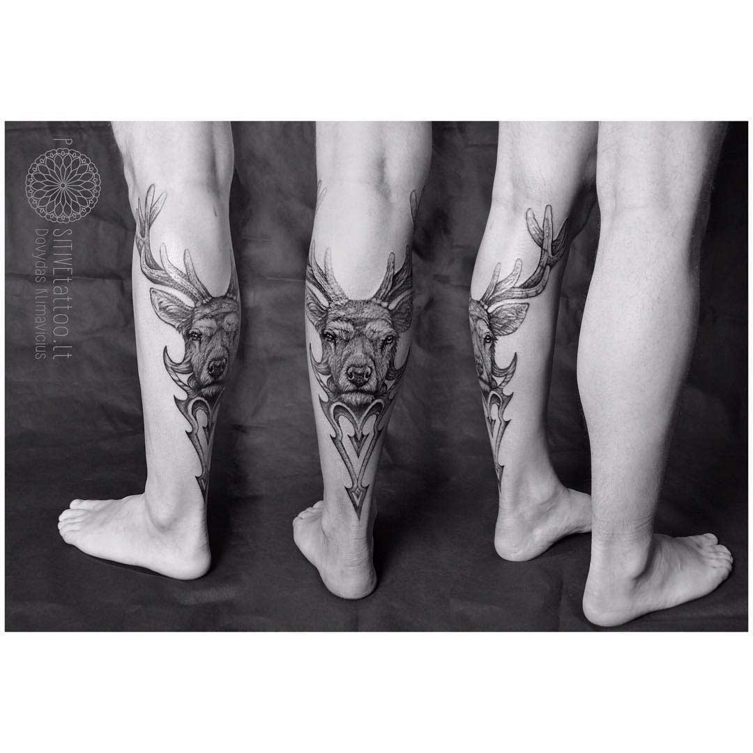 cool stag tattoo on calf