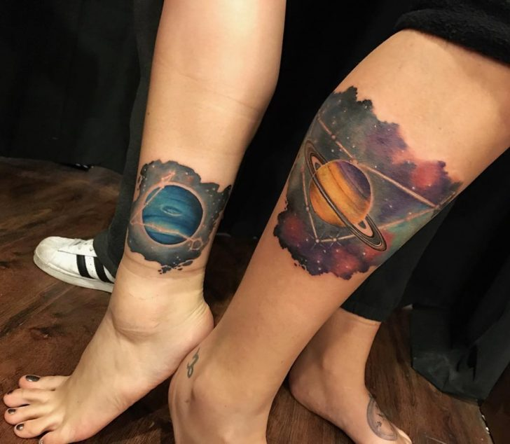 Couple Tattoos Neptune and Saturn by irmako_tattoo