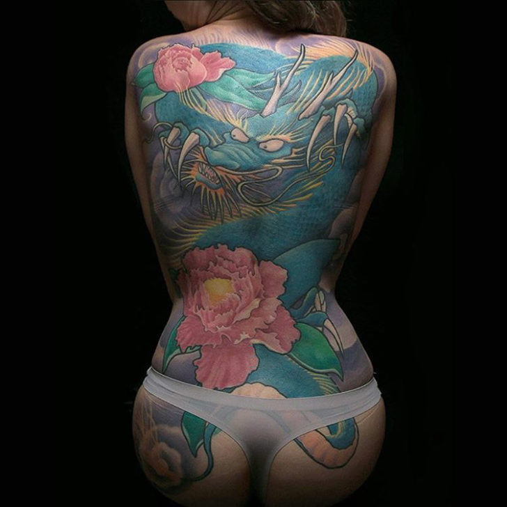 full back dragon tattoo oriental