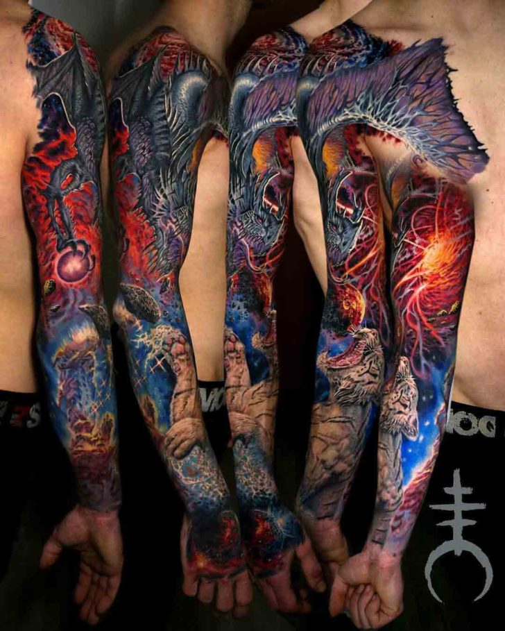 DRAGON TIGER FANTASY TATTOO SLEEVE