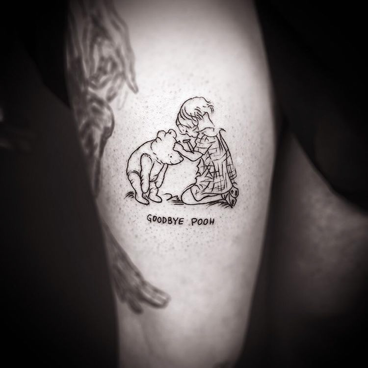 Winnie the Pooh tattoo outline