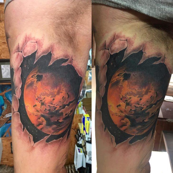 Inner Bicep Mars Tattoo by luishidalgoart