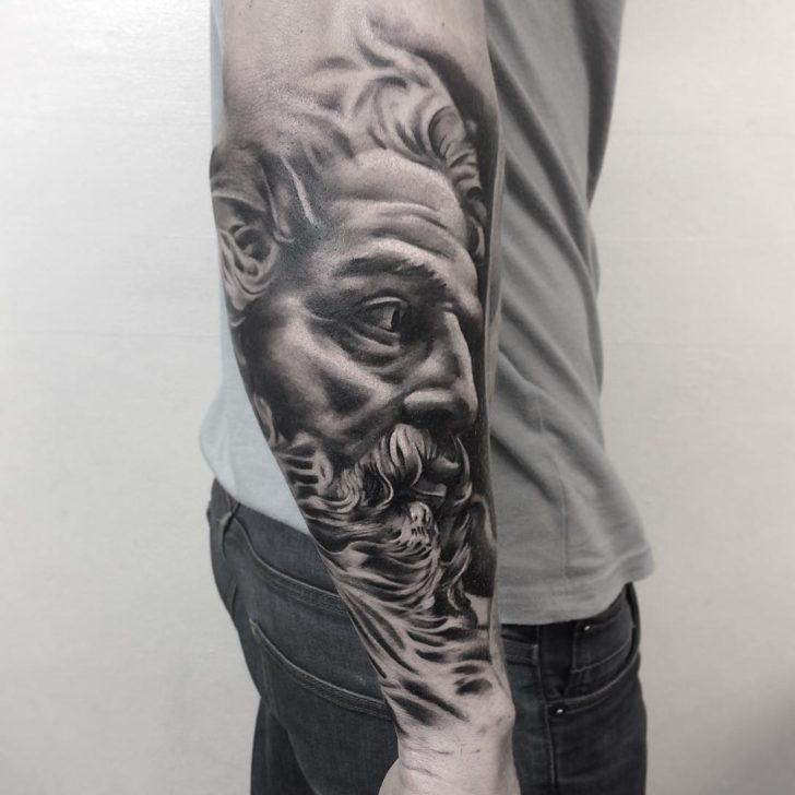 Jupiter Portrait Tattoo on Arm by life_of_riley_tattoo_studio