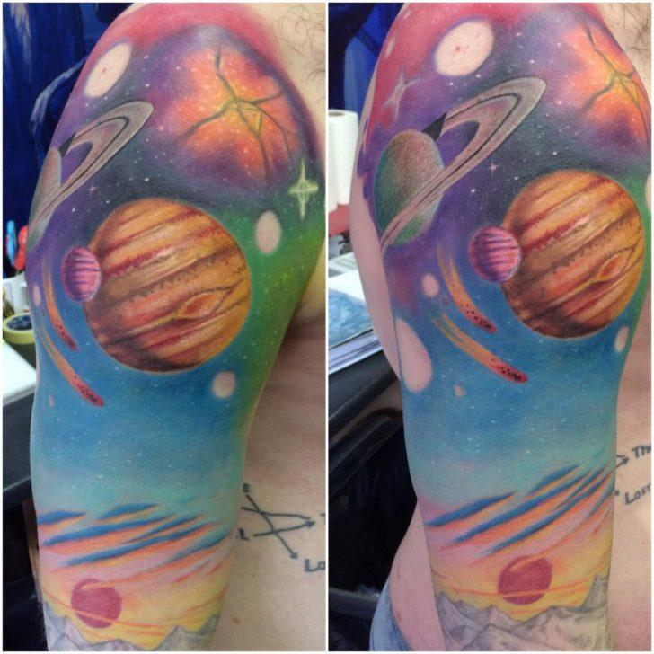 Jupiter Tattoo Sleeve Planets by mik_insekt