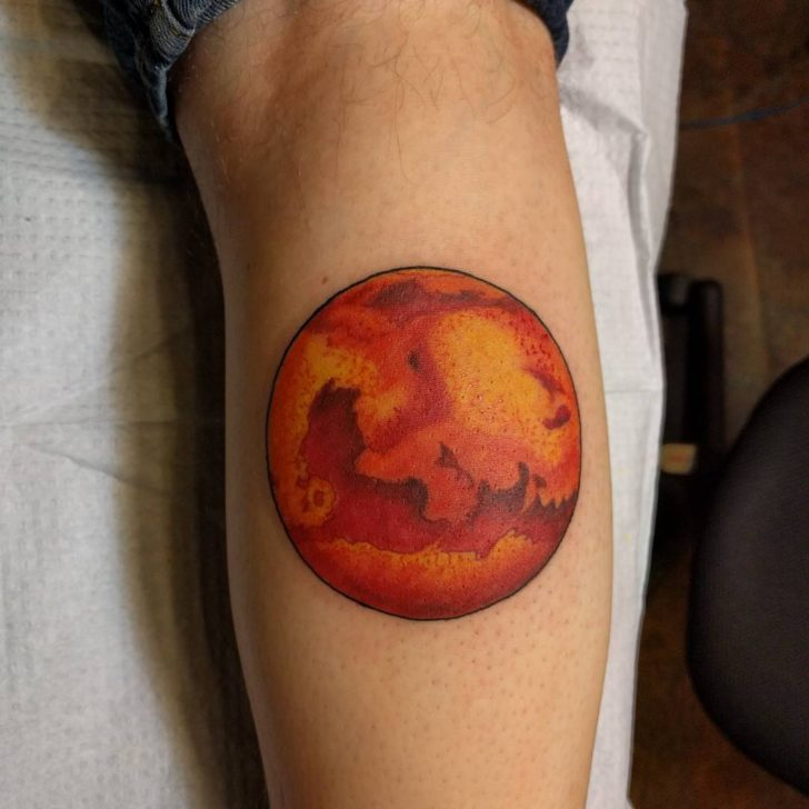Mars Tattoo on Calf by ozsager