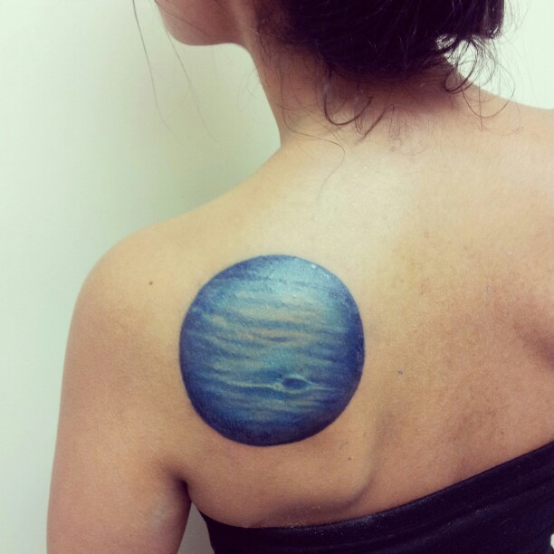 Neptune Tattoo on Shoulder Blade