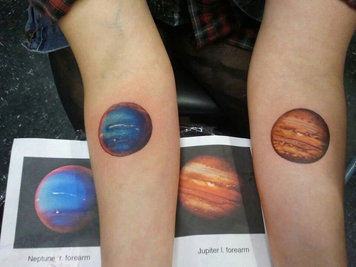 Realistic Jupiter and Neptune Tattoos by large