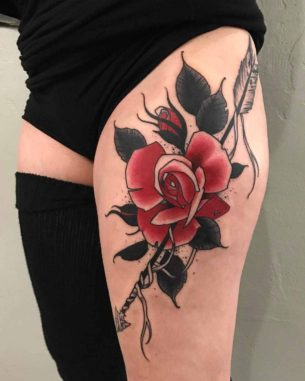Rose Tattoo Hip
