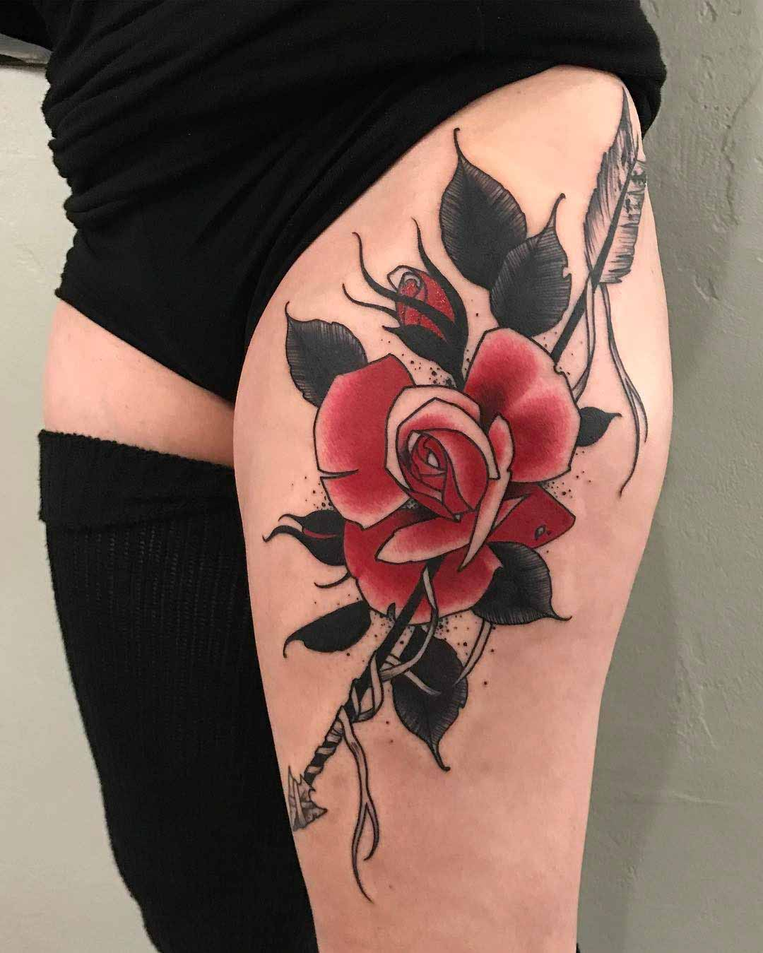 hip tattoo rose and arrow