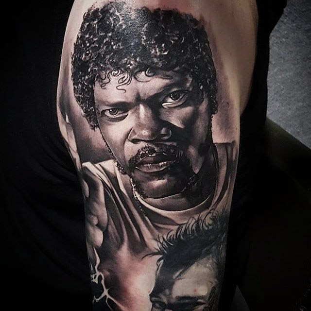 realistic Samuel L Jackson Tattoo black and grey