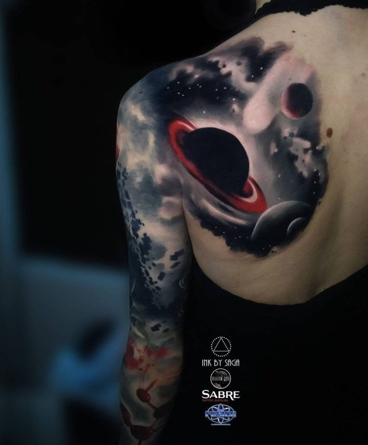 Saturn Tattoo Sleeve from Shoulder Blade by inkbysaga