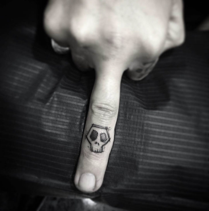 sketchy skull tattoo on finger