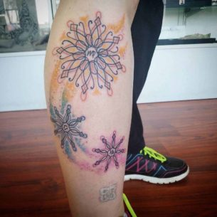 Snowflakes Tattoo on Leg