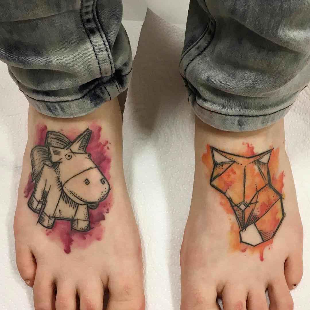 unicorn abd fox tattoos on feet