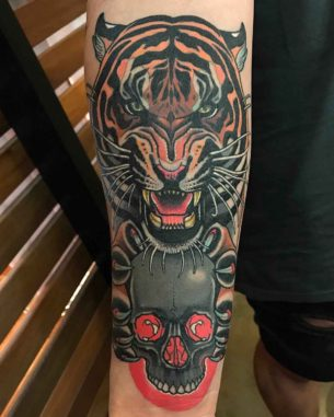 Tiger and Skull Tattoo